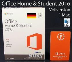 Microsoft Office Home and Student 2016 Vollversion Box 1 Mac Deutsch OVP NEU