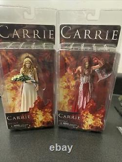 Neca Carrie White Dress Version & Bloody Action Figures RARE Stephen King Horror