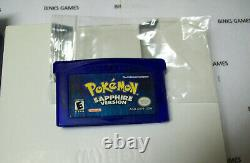 Nintendo Pokemon Sapphire Version Game IN ORIGINAl BOX AUTHENTIC NEW SAVE BATT