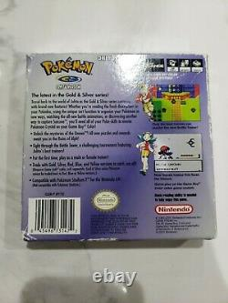 Pokemon Crystal Version Complete in Box cib New Save Battery + Protective Sleeve