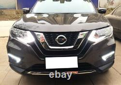 White/Amber Switchback Optic LED Daytime Running Lamps For 2017-up Nissan Rogue